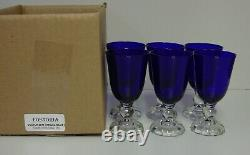 Fostoria VICTORIAN (REGAL BLUE) Claret Wine Stems SET OF SIX Lovely MINT IN BOX