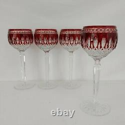 GORGEOUS Set of 4 Waterford Crystal CLARENDON Ruby Red 8 Wine Hock Glasses