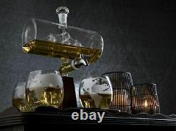 Glass Crystal Whiskey Decanter Set Bottle Display Dispenser Liquor Wine Vintage