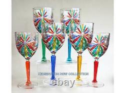 Glassware Sorrento Wine Glasses Set/6 Hand Painted Venetian Glassware
