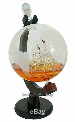 Globe Wine Spirits Vodka Scotch Liquor Whiskey Decanter Set Crystal Glass Bottle
