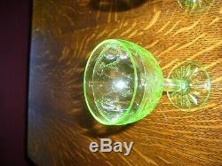Green Depression Glass Cameo Ballerina Set of 10 4 Cordial Wine Goblets