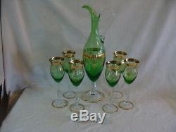 Green Glass Decanter Set Carafe & 6 Wine Glasses Gold Trim. Made In Italy