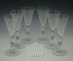 HAWKES ANTIQUE CUT CRYSTAL CHANTILLY SET OF 6 WINE GOBLETS 2oz MARKED