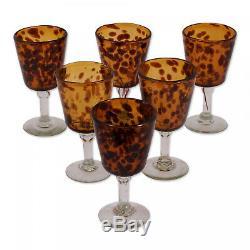 Handmade Wine Glasses Tortoise Shell Set Of 6 (Mexico)