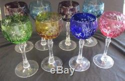 Hock Bohemia Cut Lead Crystal Wine Glasses Coloured Glass set of 8