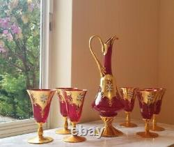 ITALIAN MURANO GLASS Decanter Set With Six 24 Gold Leaf Red Wine Glasses
