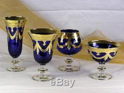 Interglass Italy Set of 6 Crystal Navy Blue Wine Glass Goblet 24K Gold 10 oz