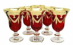 Interglass Italy Set of 6 Glasses Royal Red Crystal Wine Goblets, 24K Gold