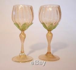 Iridescent Murano Salviati Wine Glasses (Set of 2)