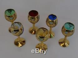 Italian Murano Venetian Art Glass Petite Wine Glasses Applied Flowers Set of 6