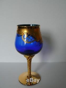 Italian Venetian Murano Glass Wine Decanter Jug and 6 Glasses Set 24K Gold