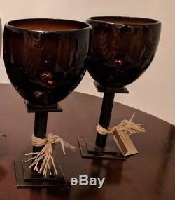 Jan Barboglio Laurel White Wine Chalice Glass Chocolate Iron set 2 Retired