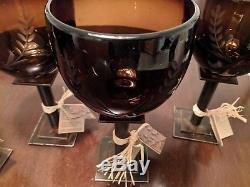 Jan Barboglio Laurel White Wine Chalice Glass Chocolate Iron set 4 Retired