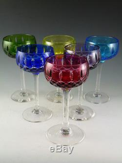John WALSH WALSH Crystal Harlequin Coloured Wine Glasses Set of 6