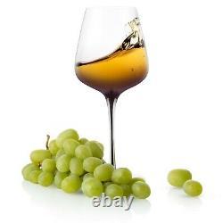 JoyJolt Black Swan White Wine Glasses, 17.8 Oz Set of 2
