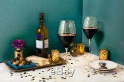 JoyJolt Layla Wine Glasses, 23.6 oz Set of 4 Lead-Free Crystal Tall Wine Glasses