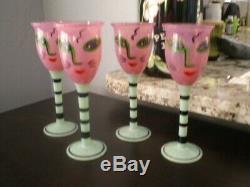 KOSTA BODA OPEN MINDS signed Set of 4 Wine Goblets by Ulrica Hydman Vallien