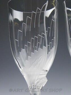 Lalique France Crystal ANGEL WING ANGE CHAMPAGNE WINE FLUTE GLASSES Set of 2