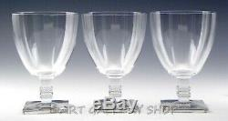 Lalique France Crystal ARGOS 5 WINE WATER GOBLETS GLASSES Set of 3