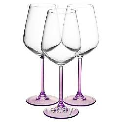Large Wine Glasses Set of 6 Purple Coloured Stem for Red and White Wine Winter