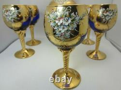 MURANO Venice Italy Blue Glass Decanter Set 5 Wine Glasses 24kt Gold Leaf