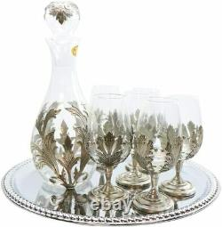 Medieval Pewter Wine Decanter with Glasses 7 Pc Set Metal Portugal Pattern