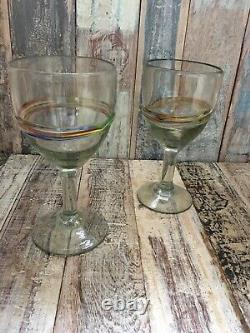 Mexican Recycled Wine Glass Set Of 2 With Multicoloured Band Fair Trade
