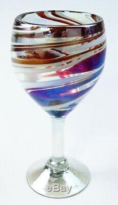 Mexican Wine Glasses, red white swirl, 12 oz, hand blown, fused colors set of 8