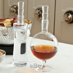 Mid Century Modern Laurel and Hardy Decanter Set Wine Liquor Tall Fat Glass