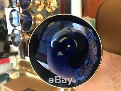 Midcentury Modern Murano Venetian Cobalt Blue Wine Glass Goblets Set of 6