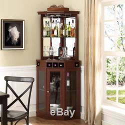 Mini Bar Corner Furniture For Home Set Cabinets Wood Glass Mirror Liquor Wine