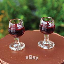 Miniature Red Wine Glasses Set 2 GO 16563 Fairy Faerie Gnome Garden