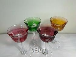 Moser Birds Of The Wild Wine Hock Crystal Glasses Set Of 4 Spectacular