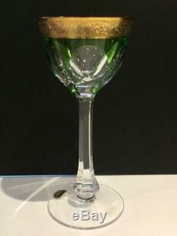 Moser Lady Hamilton Crystal Set Of 6 Colored Wine Hocks Gold Band Mib Cr1703