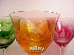 Moser Wine Glasses Stems Goblets set of 12 Multi-Color Birds of the Wild etch