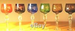 Multi-Color Cut to Clear Crystal Wine Glasses Set of 6 Czech-Bohemian Green Blue