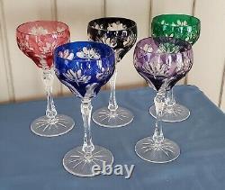 Multi- Color Vintage Antique St Louis Made In France Crystal Wine Glasses Set