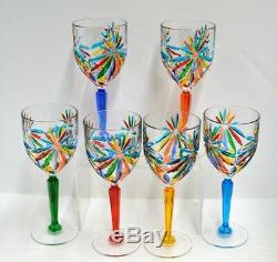 Murano Glass Starburst Wine Glasses set of 6