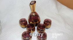 Murano Purple withGoldDecanter Set Carafe & 6 Wine Glasses. Made In Venice Italy