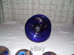 Murano cobalt blue withgold wine, liquor drink set, pitcher & 6 goblets