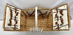NEW IN BOX Pottery Barn Winslow Woven Willow Picnic Basket SetSet for 4