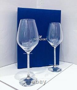 NEW SWARVOSKI Steven Weinberg Set of 2 Crystalline Wine Glasses with Gift Box