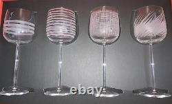 NEW Set of 4 Salviati Venezia Graffiati Wine Glasses