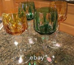 Nachtmann Antika Cut To Clear Chartreuse Green Wine Glasses Set Of Four