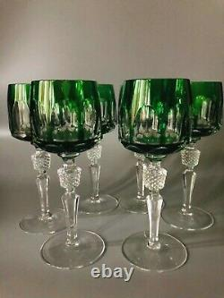 Nachtmann Crystal -Antica color Forest -Green Wine Glass set of six
