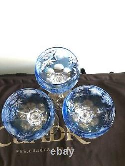 Nachtmann Traube Blue Cut to Clear Hock Wine Crystal Glasses Set Of 3 Signed