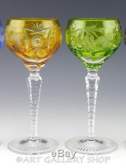 Nachtmann Traube Crystal Cut To Clear 6-7/8 WINE HOCK GOBLETS MULTI COLOR Set 6