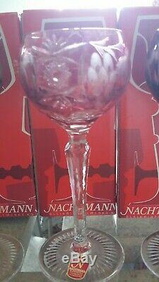 Nachtmann Traube NIB Crystal Cut To Clear Wine Hock Glasse Set Of 6 Height 6 7/8