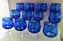 Nachtmann Traube Rare Set Of 12 Wine Hocks! Cobolt Blue To Clear
